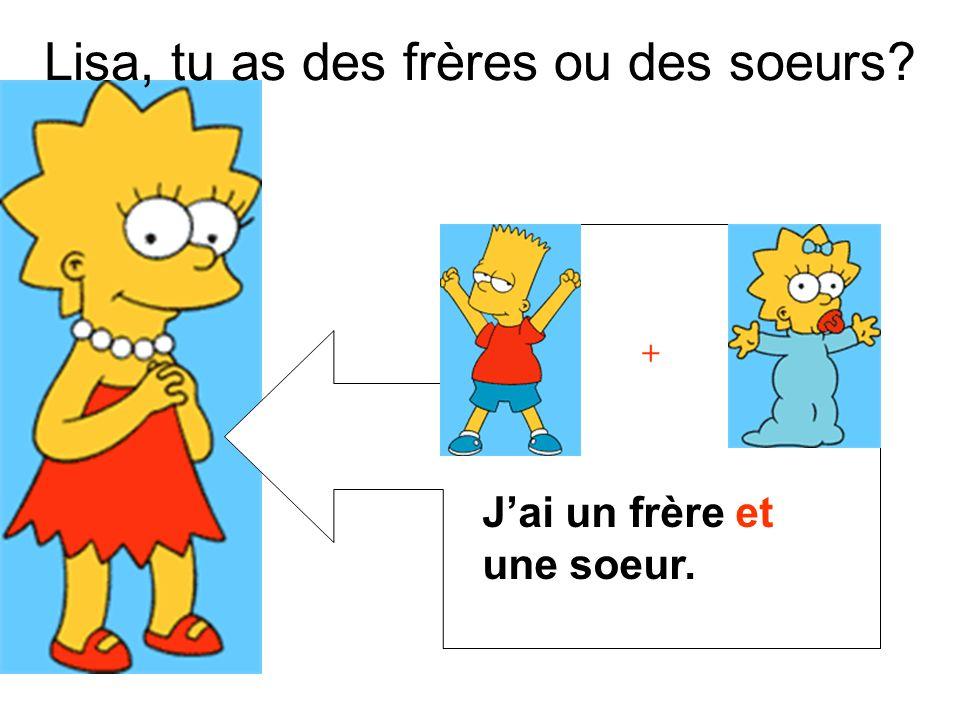 + Lisa, tu as des frères ou des soeurs? Jai un frère et une soeur.