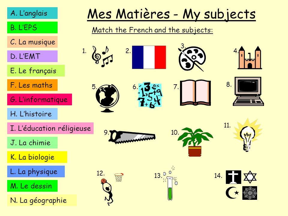 Mes Matières - My subjects Match the French and the subjects: A. Langlais B. LEPS C. La musique D. LEMT E. Le français K. La biologie F. Les maths H.