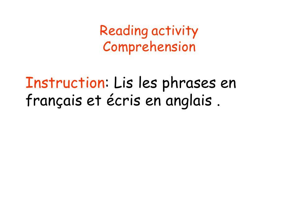 Reading activity Comprehension Instruction: Lis les phrases en français et écris en anglais.