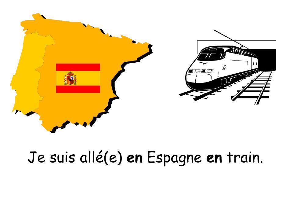 Je suis allé(e) en Espagne en train.