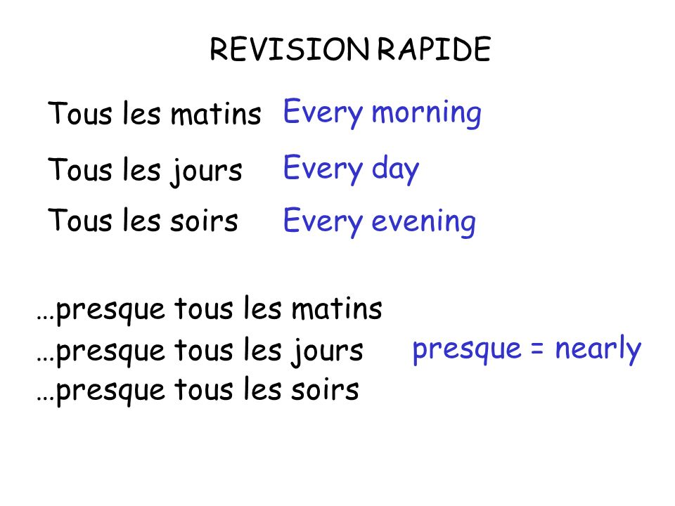 REVISION RAPIDE Tous les matins Tous les jours Tous les soirs …presque tous les jours …presque tous les matins …presque tous les soirs Every morning Every day Every evening presque = nearly