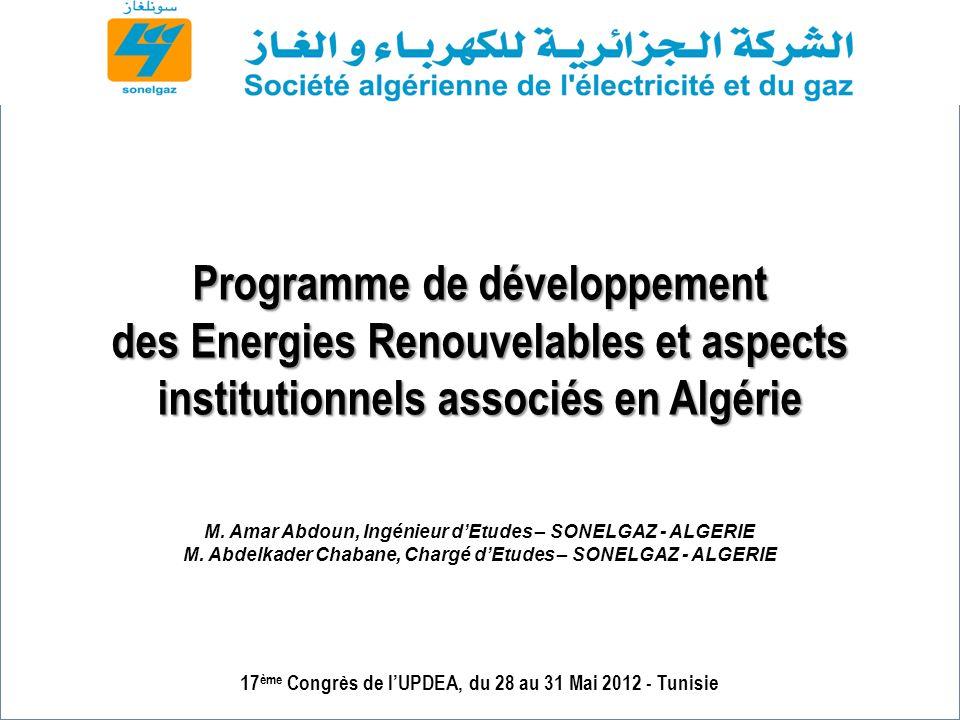Sommaire Le développement des EnR en Algérie : Contexte et Enjeux Atouts / opportunités pour lAlgérie de développer les EnR Projets EnR (réalisés et en cours) Programme national des énergies renouvelables Politique énergétique nationale Stratégie de développement des EnR Mise en œuvre du programme national des énergies renouvelables Aspects institutionnels, législatifs et mesures incitatifs Conclusion