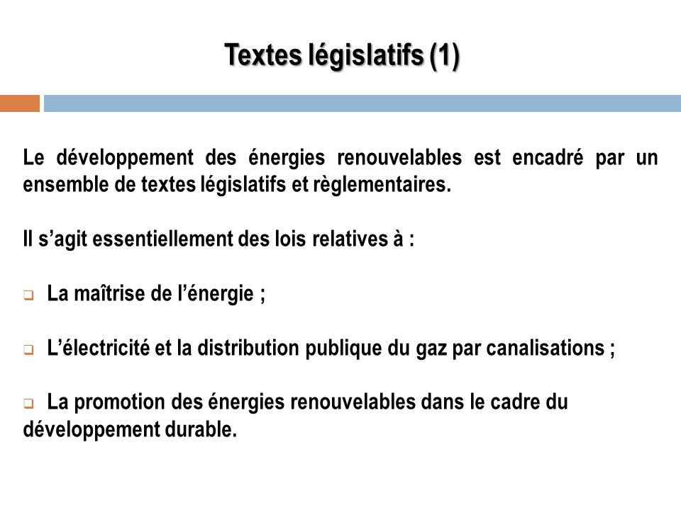 Textes législatifs (1) Le développement des énergies renouvelables est encadré par un ensemble de textes législatifs et règlementaires. Il sagit essen