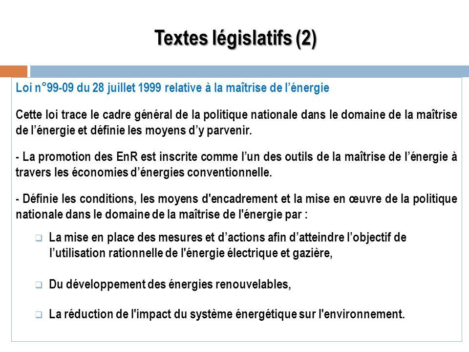 Loi n°99-09 du 28 juillet 1999 relative à la maîtrise de lénergie Cette loi trace le cadre général de la politique nationale dans le domaine de la maî