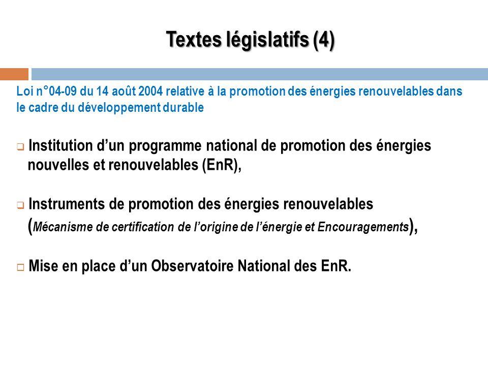 Loi n°04-09 du 14 août 2004 relative à la promotion des énergies renouvelables dans le cadre du développement durable Institution dun programme nation