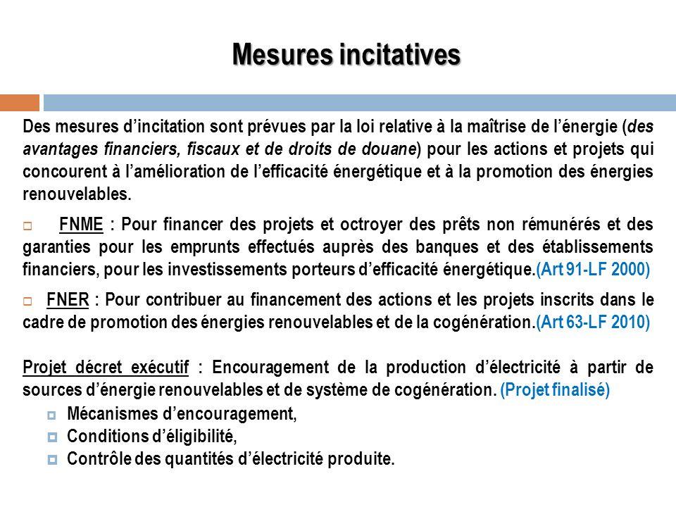 Mesures incitatives Des mesures dincitation sont prévues par la loi relative à la maîtrise de lénergie ( des avantages financiers, fiscaux et de droit