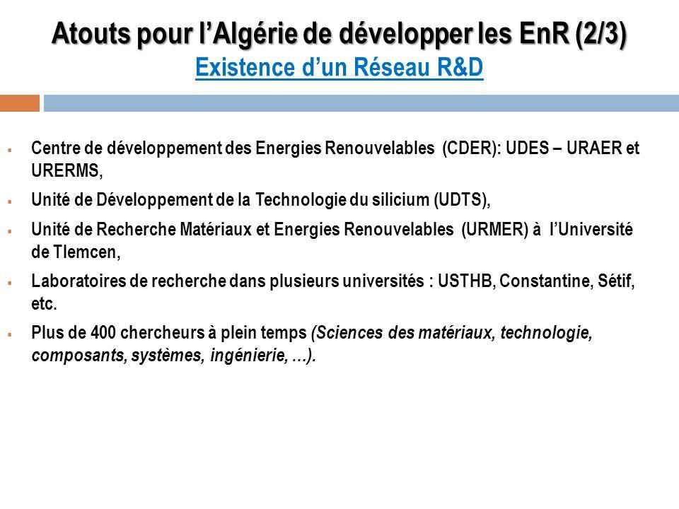 Atouts pour lAlgérie de développer les EnR (2/3) Atouts pour lAlgérie de développer les EnR (2/3) Existence dun Réseau R&D Centre de développement des