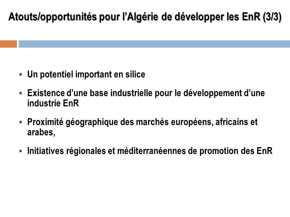 Atouts/opportunités pour lAlgérie de développer les EnR (3/3) Un potentiel important en silice Existence dune base industrielle pour le développement