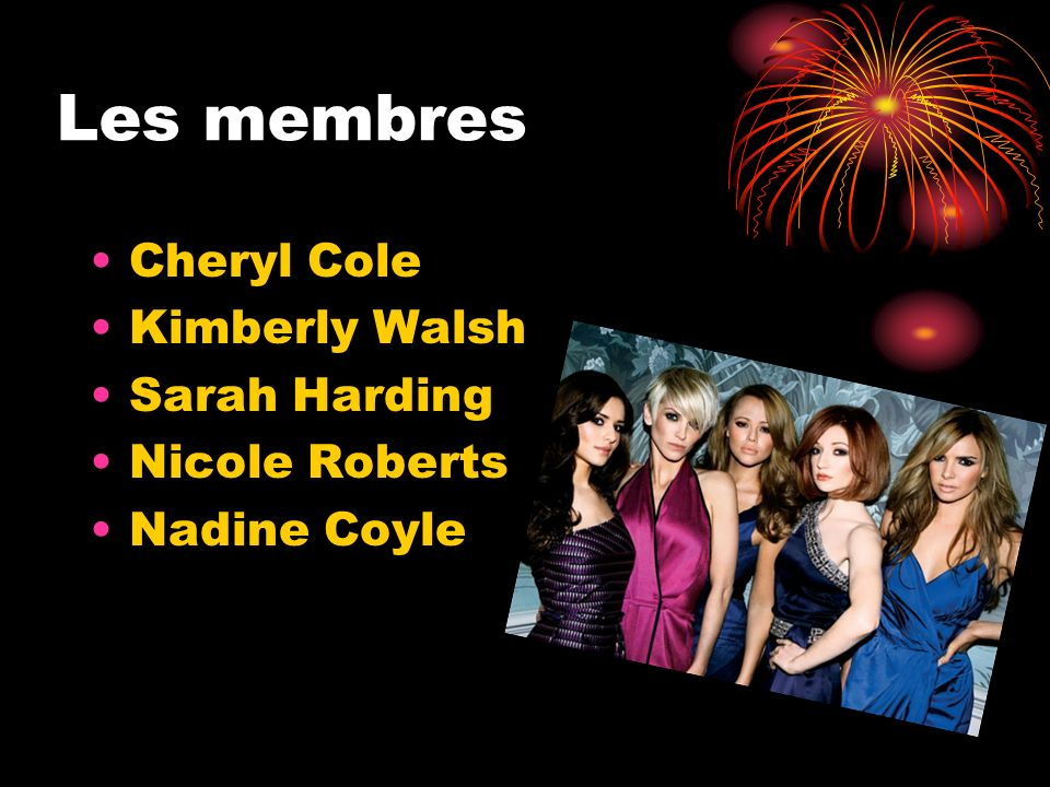 Les membres Cheryl Cole Kimberly Walsh Sarah Harding Nicole Roberts Nadine Coyle