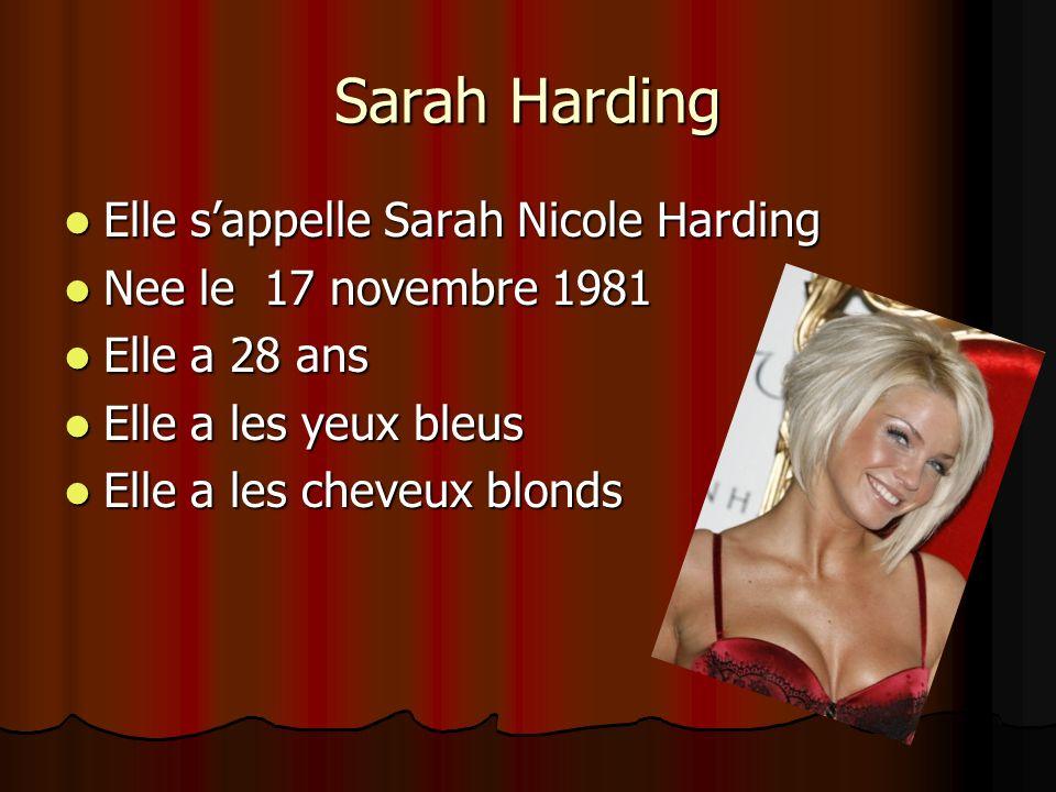 Sarah Harding Elle sappelle Sarah Nicole Harding Elle sappelle Sarah Nicole Harding Nee le 17 novembre 1981 Nee le 17 novembre 1981 Elle a 28 ans Elle a 28 ans Elle a les yeux bleus Elle a les yeux bleus Elle a les cheveux blonds Elle a les cheveux blonds