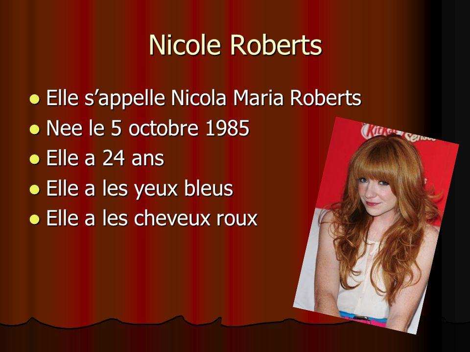 Nicole Roberts Elle sappelle Nicola Maria Roberts Elle sappelle Nicola Maria Roberts Nee le 5 octobre 1985 Nee le 5 octobre 1985 Elle a 24 ans Elle a 24 ans Elle a les yeux bleus Elle a les yeux bleus Elle a les cheveux roux Elle a les cheveux roux