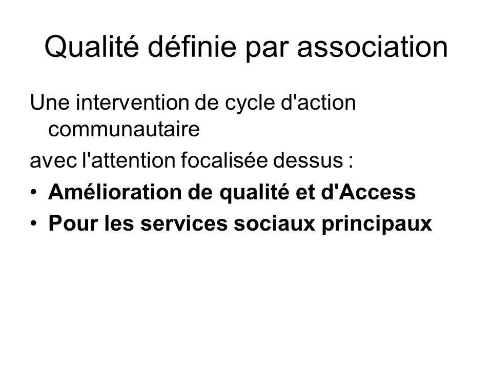Qualité définie par association Une intervention de cycle d action communautaire avec l attention focalisée dessus : Amélioration de qualité et d Access Pour les services sociaux principaux