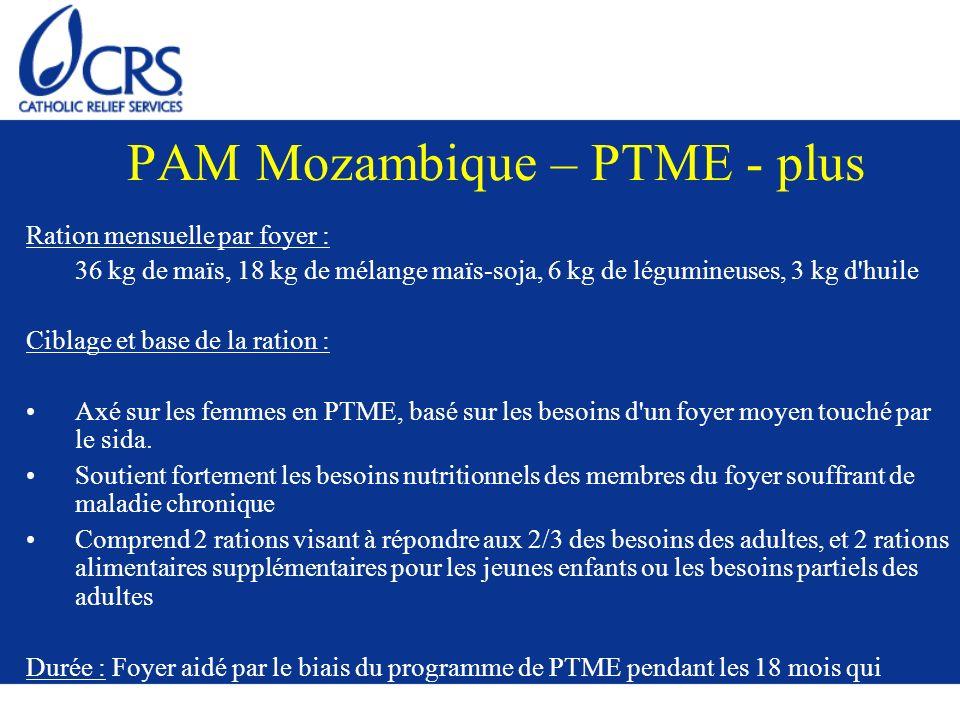 PAM Mozambique – PTME - plus Ration mensuelle par foyer : 36 kg de maïs, 18 kg de mélange maïs-soja, 6 kg de légumineuses, 3 kg d'huile Ciblage et bas
