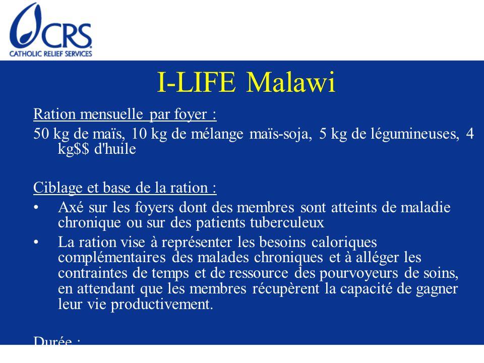 I-LIFE Malawi Ration mensuelle par foyer : 50 kg de maïs, 10 kg de mélange maïs-soja, 5 kg de légumineuses, 4 kg$$ d'huile Ciblage et base de la ratio