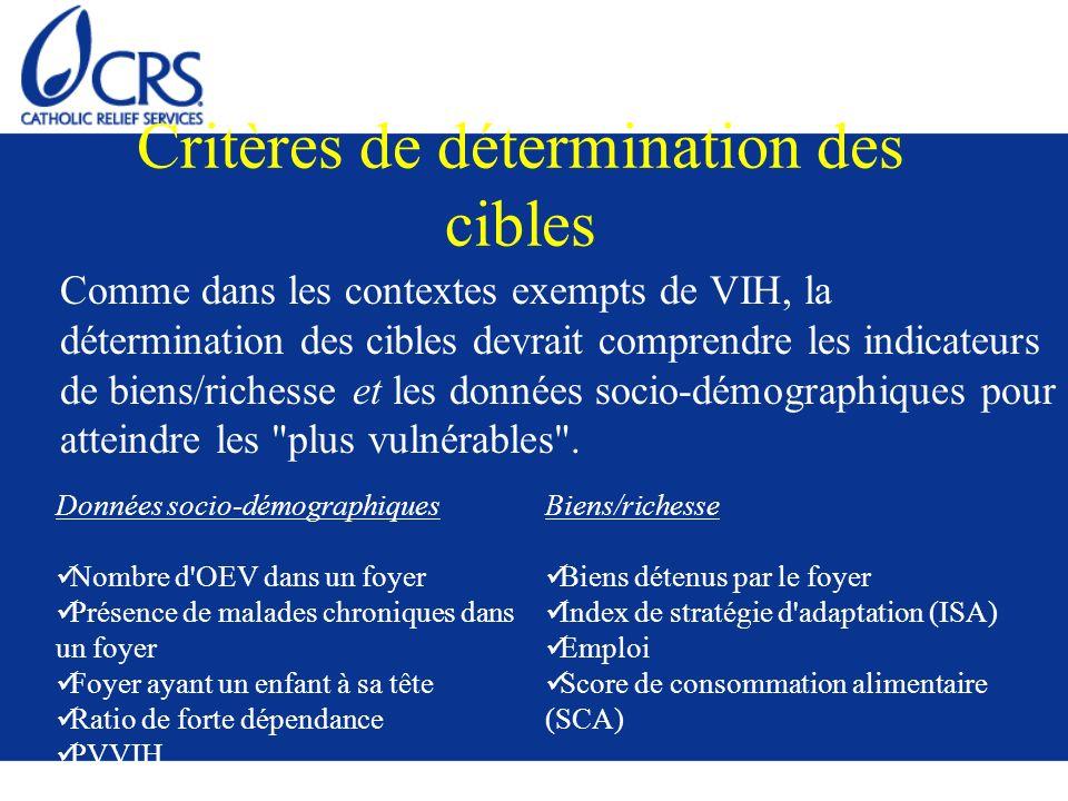 Critères de détermination des cibles Comme dans les contextes exempts de VIH, la détermination des cibles devrait comprendre les indicateurs de biens/