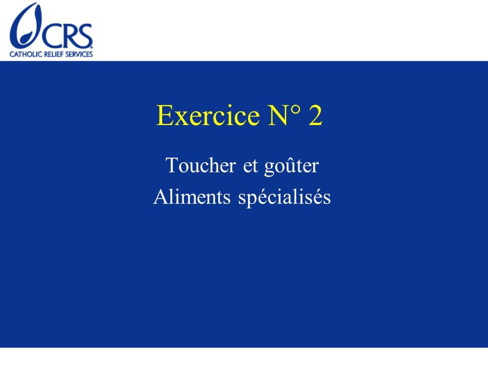 Exercice N° 2 Toucher et goûter Aliments spécialisés