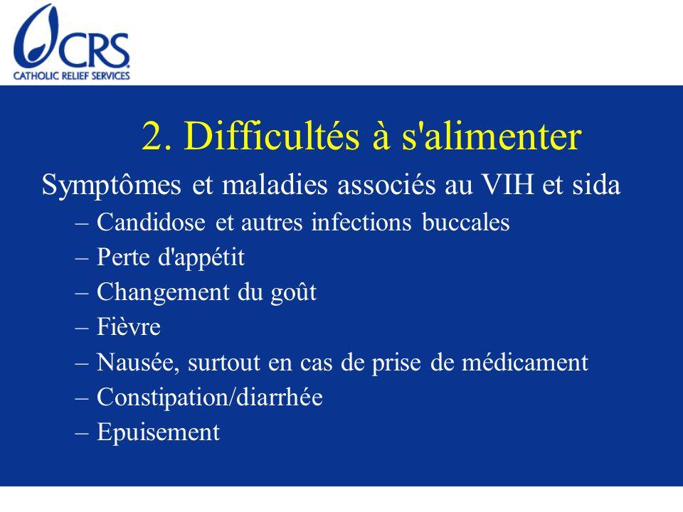 2. Difficultés à s'alimenter Symptômes et maladies associés au VIH et sida –Candidose et autres infections buccales –Perte d'appétit –Changement du go