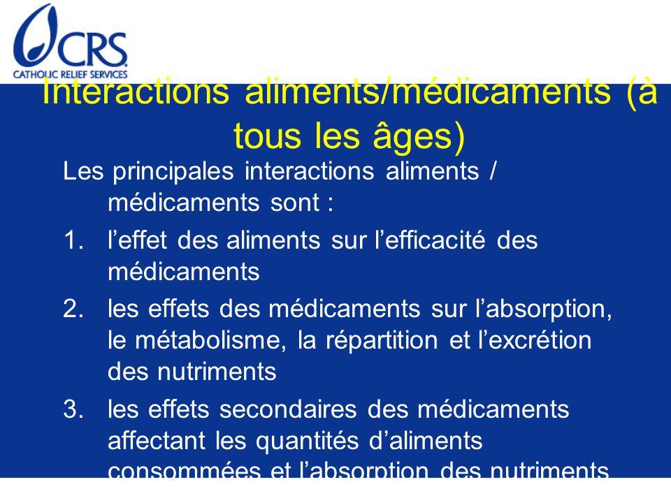 Interactions aliments/médicaments (à tous les âges) Les principales interactions aliments / médicaments sont : 1.leffet des aliments sur lefficacité d