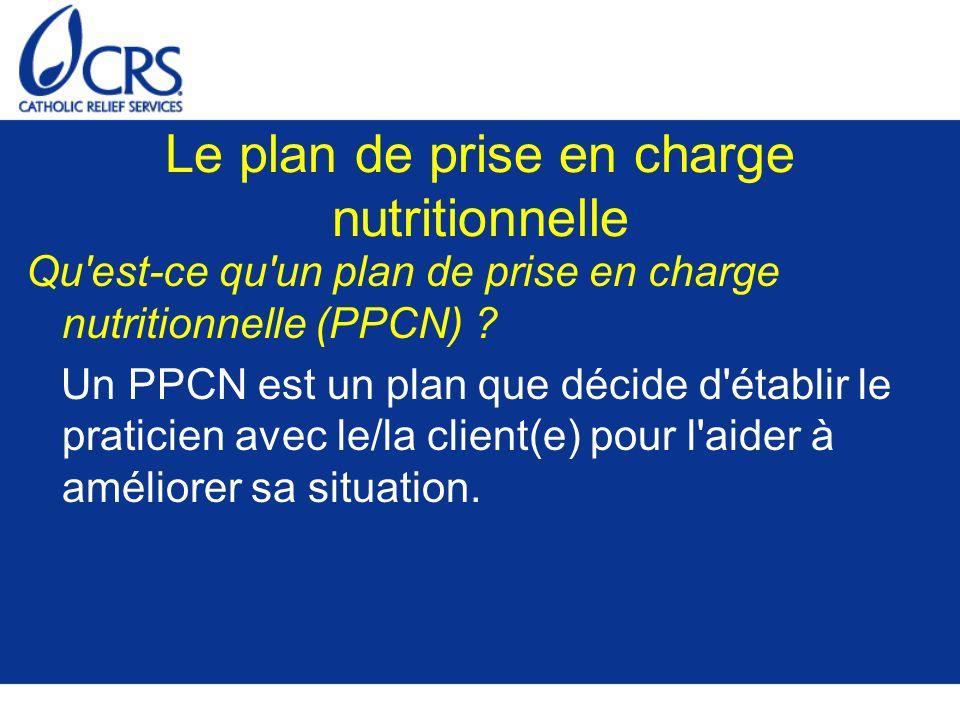 Le plan de prise en charge nutritionnelle Qu'est-ce qu'un plan de prise en charge nutritionnelle (PPCN) ? Un PPCN est un plan que décide d'établir le