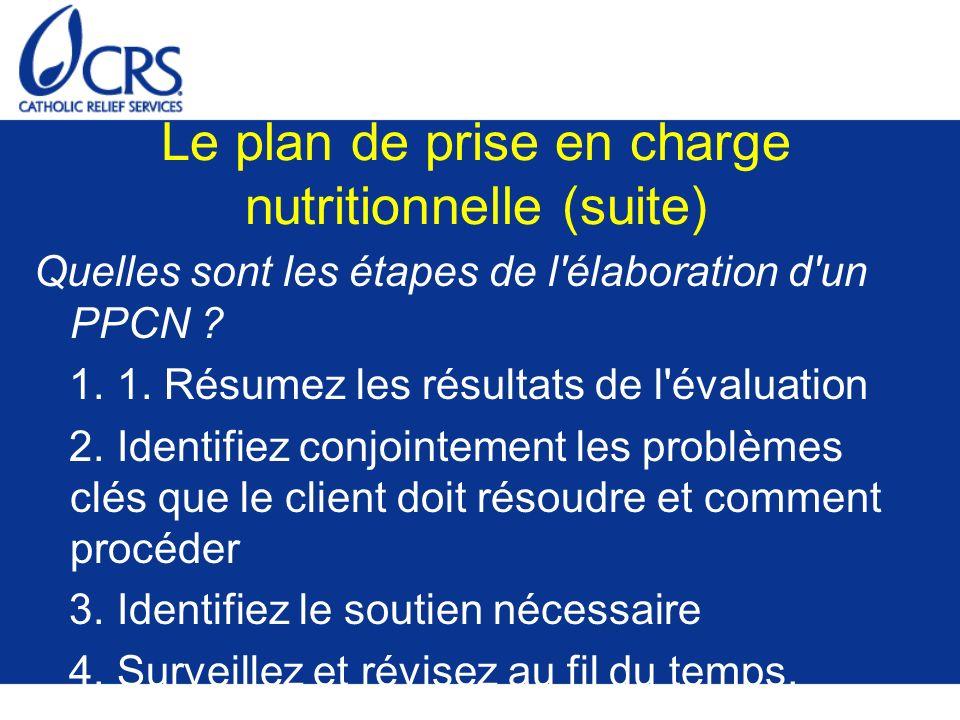 Le plan de prise en charge nutritionnelle (suite) Quelles sont les étapes de l'élaboration d'un PPCN ? 1. 1. Résumez les résultats de l'évaluation 2.