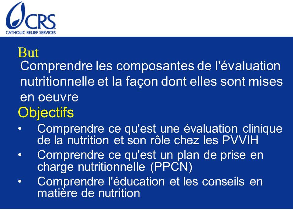 Comprendre les composantes de l'évaluation nutritionnelle et la façon dont elles sont mises en oeuvre Objectifs Comprendre ce qu'est une évaluation cl