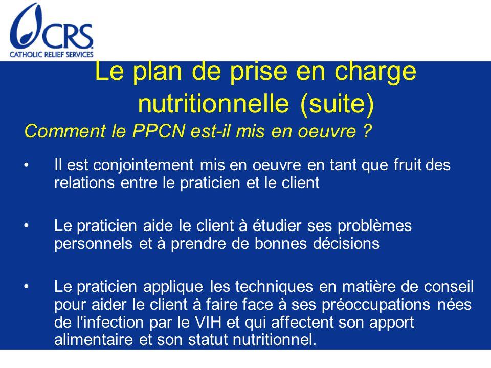 Le plan de prise en charge nutritionnelle (suite) Comment le PPCN est-il mis en oeuvre ? Il est conjointement mis en oeuvre en tant que fruit des rela