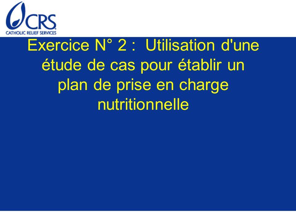 Exercice N° 2 : Utilisation d'une étude de cas pour établir un plan de prise en charge nutritionnelle