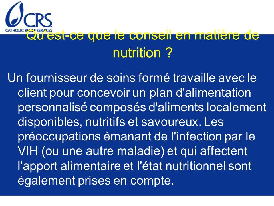 Qu'est-ce que le conseil en matière de nutrition ? Un fournisseur de soins formé travaille avec le client pour concevoir un plan d'alimentation person