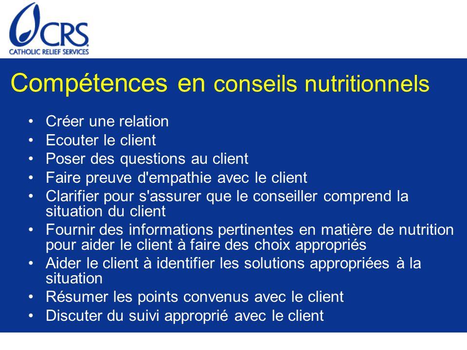 Compétences en conseils nutritionnels Créer une relation Ecouter le client Poser des questions au client Faire preuve d'empathie avec le client Clarif