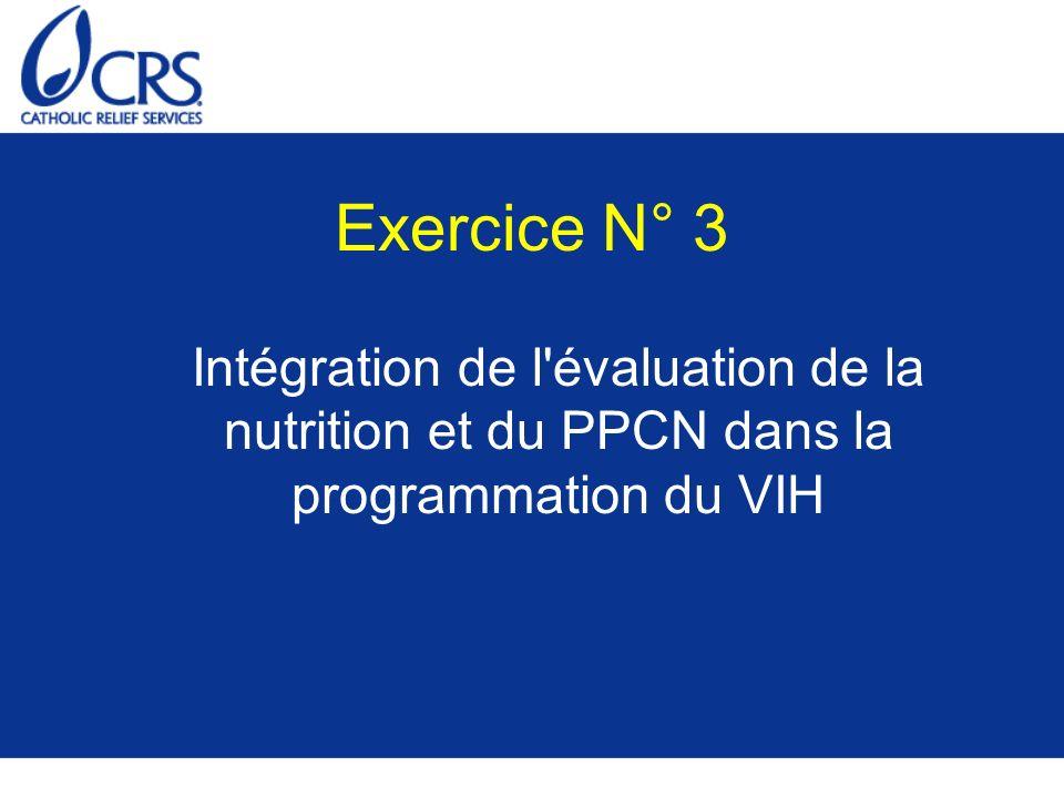 Exercice N° 3 Intégration de l'évaluation de la nutrition et du PPCN dans la programmation du VIH