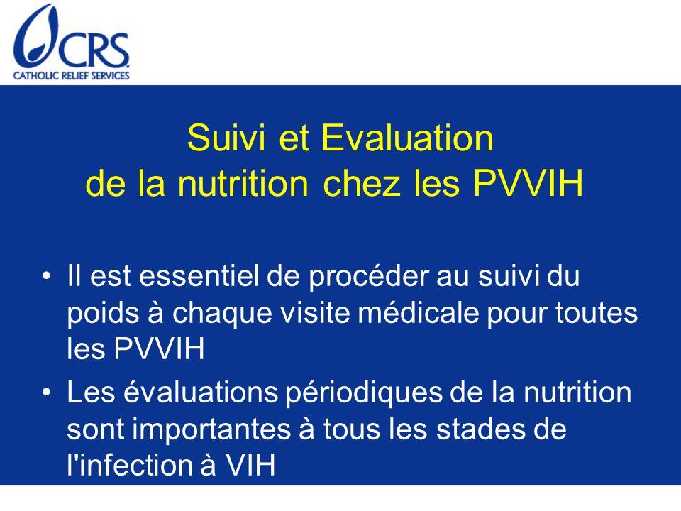 Suivi et Evaluation de la nutrition chez les PVVIH Il est essentiel de procéder au suivi du poids à chaque visite médicale pour toutes les PVVIH Les é