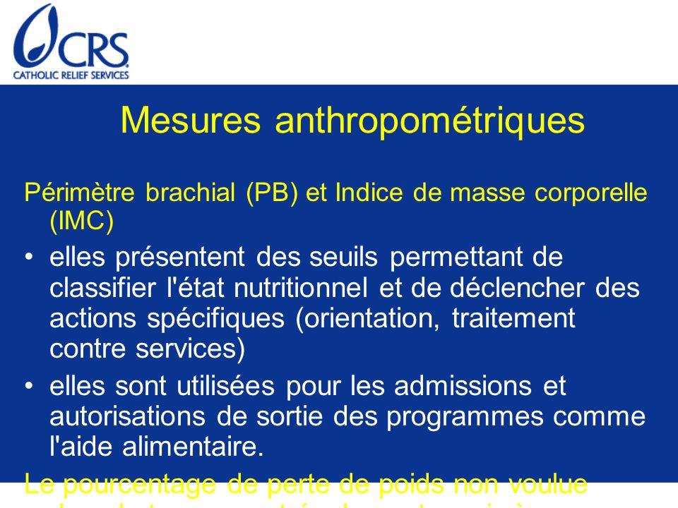 Mesures anthropométriques Périmètre brachial (PB) et Indice de masse corporelle (IMC) elles présentent des seuils permettant de classifier l'état nutr