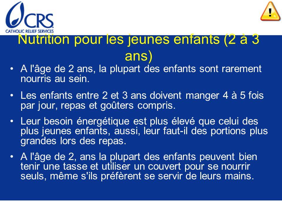 Nutrition pour les jeunes enfants (2 à 3 ans) A l'âge de 2 ans, la plupart des enfants sont rarement nourris au sein. Les enfants entre 2 et 3 ans doi