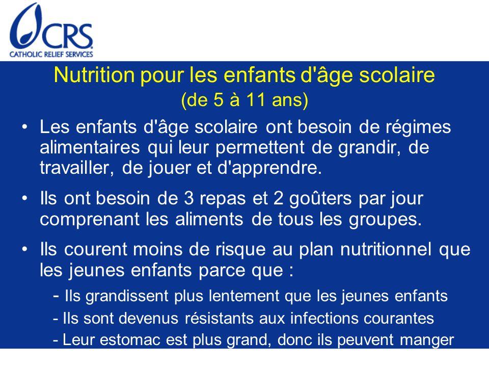 Nutrition pour les enfants d'âge scolaire (de 5 à 11 ans) Les enfants d'âge scolaire ont besoin de régimes alimentaires qui leur permettent de grandir
