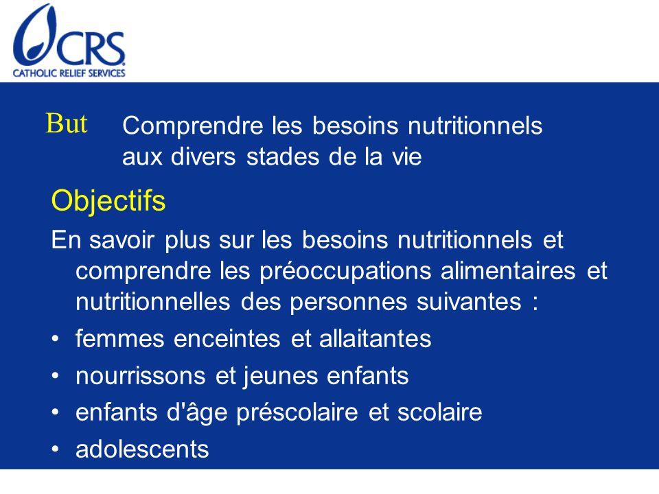 Comprendre les besoins nutritionnels aux divers stades de la vie Objectifs En savoir plus sur les besoins nutritionnels et comprendre les préoccupatio