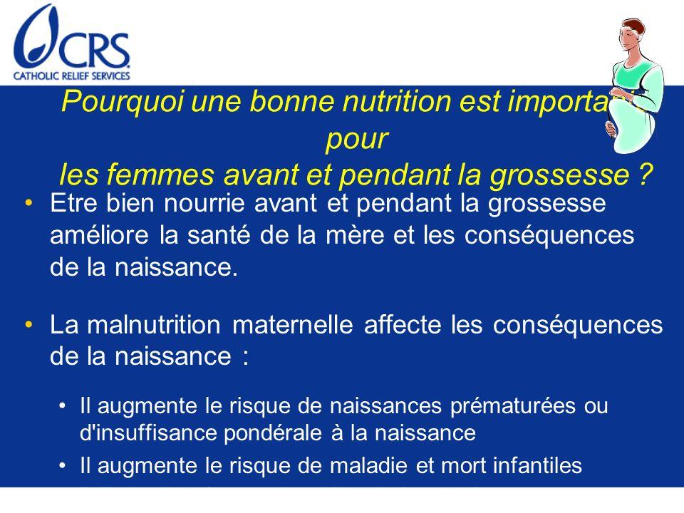Pourquoi une bonne nutrition est importante pour les femmes avant et pendant la grossesse ? Etre bien nourrie avant et pendant la grossesse améliore l