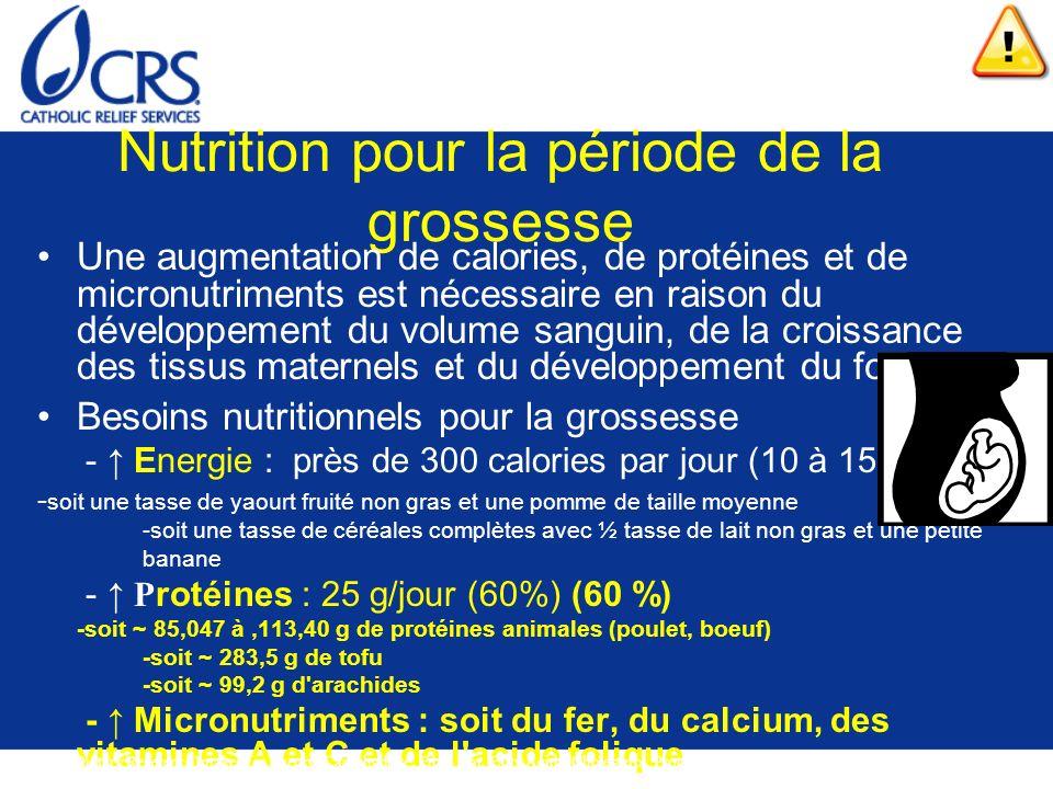 Nutrition pour la période de la grossesse Une augmentation de calories, de protéines et de micronutriments est nécessaire en raison du développement d