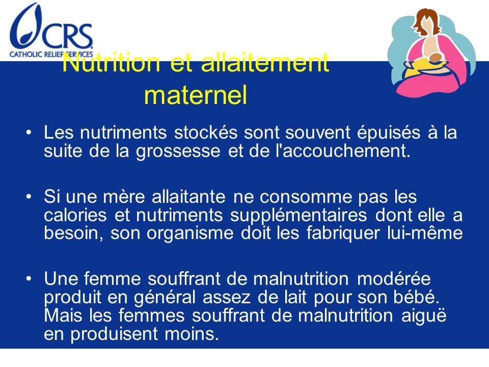 Nutrition et allaitement maternel Les nutriments stockés sont souvent épuisés à la suite de la grossesse et de l'accouchement. Si une mère allaitante