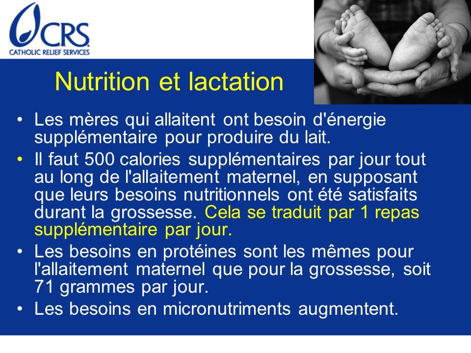 Nutrition et lactation Les mères qui allaitent ont besoin d'énergie supplémentaire pour produire du lait. Il faut 500 calories supplémentaires par jou