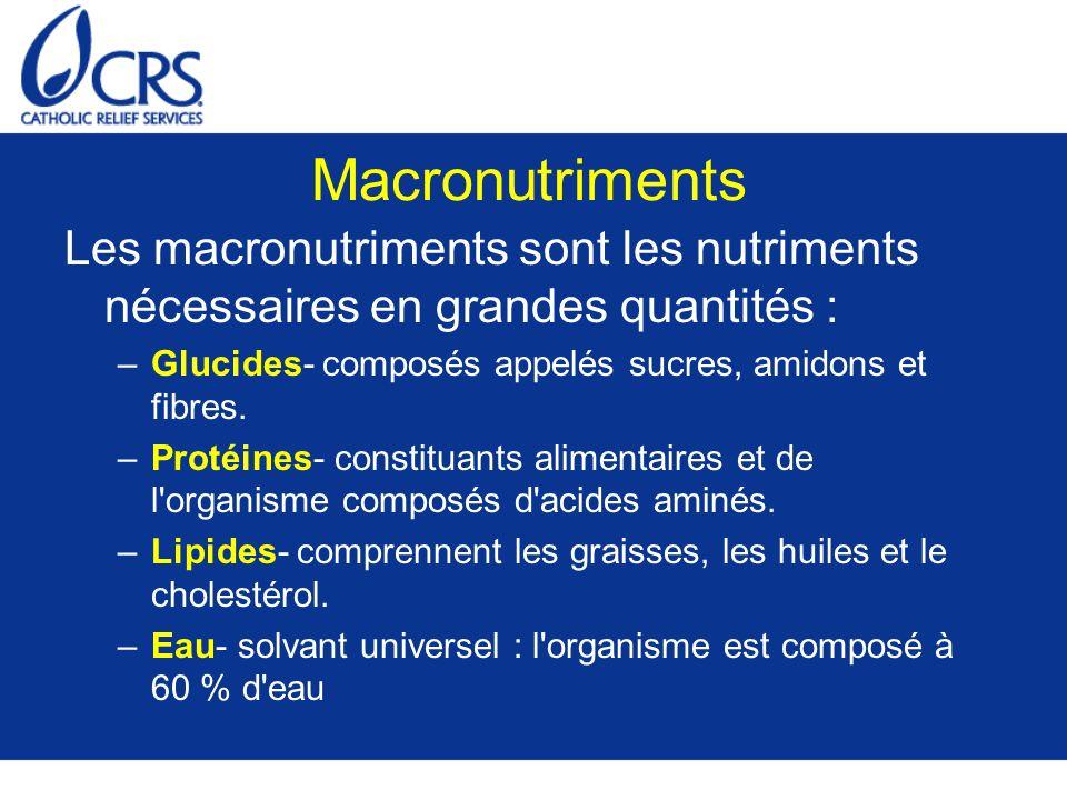 Micronutriments Les micronutriments sont les nutriments dont le corps a besoin en petites quantités –Vitamines- composés nécessaires en très petites quantités dans l alimentation permettant de réguler et d appuyer les réactions chimiques dans l organisme.