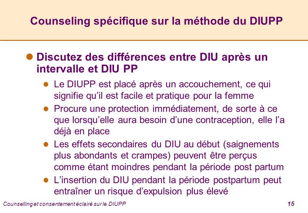 Counselling et consentement éclairé sur le DIUPP 15 Counseling spécifique sur la méthode du DIUPP Discutez des différences entre DIU après un interval