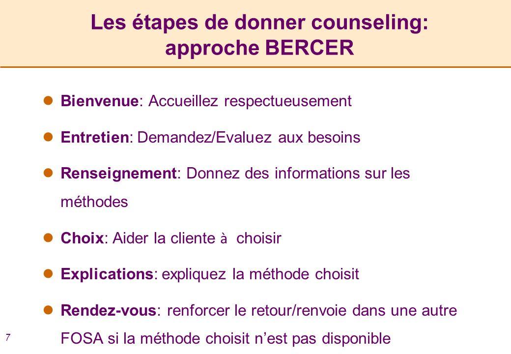 7 Les étapes de donner counseling: approche BERCER Bienvenue: Accueillez respectueusement Entretien: Demandez/Evaluez aux besoins Renseignement: Donne