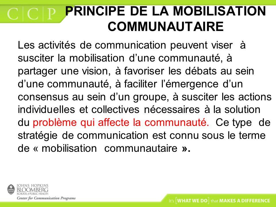 PRINCIPE DE LA MOBILISATION COMMUNAUTAIRE La mobilisation communautaire repose sur une vision dempowerment de la communauté Elle peut être stimulée par des membres de la communauté ou par des personnes extérieures… Elle comporte des étapes …