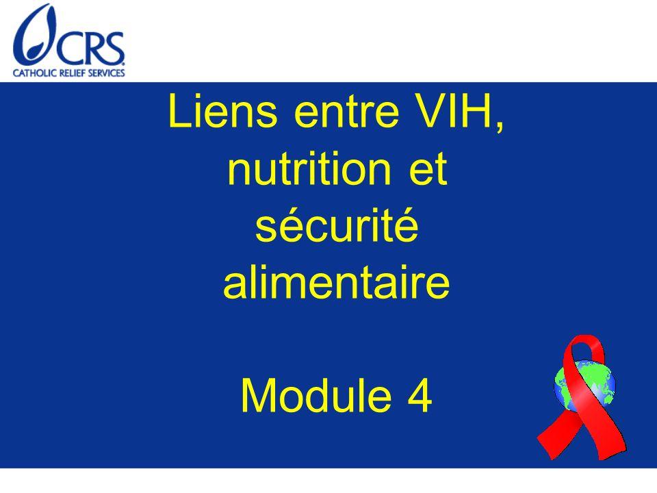 But : Comprendre quelles interactions existent entre VIH, nutrition et sécurité alimentaire Objectifs 1.Etre en mesure d expliquer les effets du VIH sur la nutrition, et vice-versa s agissant de ceux de la nutrition sur le VIH$$ 2.Etre en mesure d expliquer les effets du VIH sur la sécurité alimentaire, et vice-versa s agissant de ceux de la nutrition sur le VIH$$