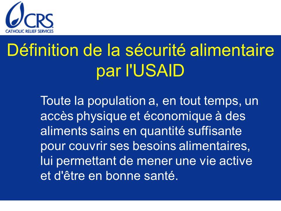 Définition de la sécurité alimentaire par l'USAID Toute la population a, en tout temps, un accès physique et économique à des aliments sains en quanti
