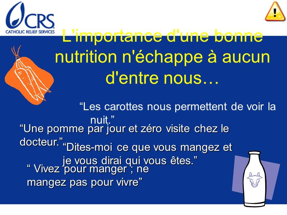 L'importance d'une bonne nutrition n'échappe à aucun d'entre nous… Les carottes nous permettent de voir la nuit. Une pomme par jour et zéro visite che