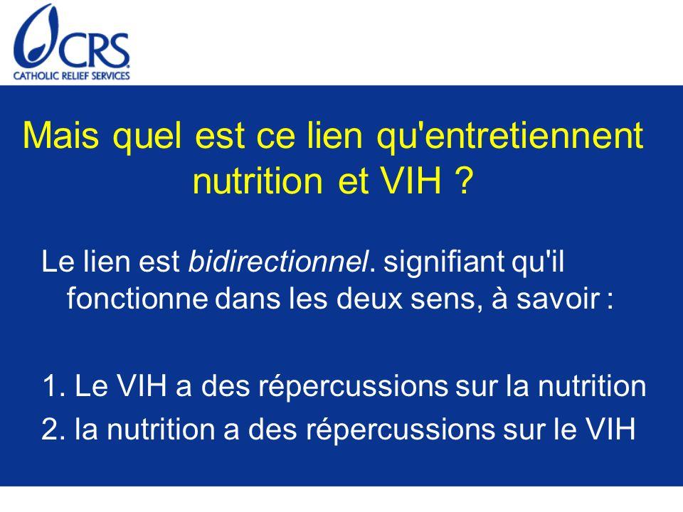 Exercice N°1 Répercussions bidirectionnelles de la nutrition et du VIH