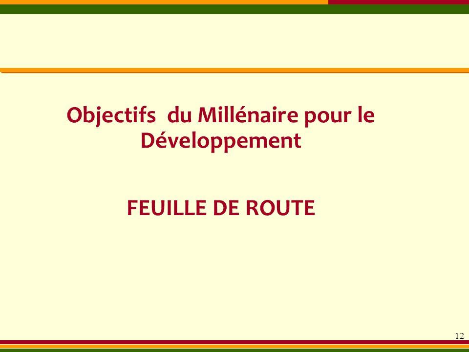 12 Objectifs du Millénaire pour le Développement FEUILLE DE ROUTE