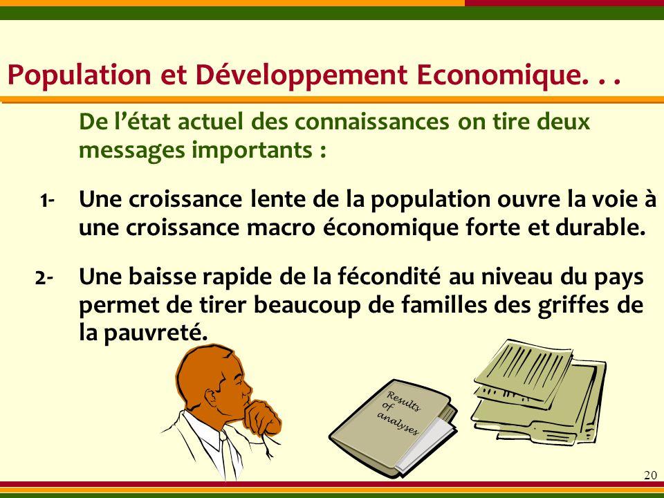 20 De létat actuel des connaissances on tire deux messages importants : Results of analyses Population et Développement Economique... 1- Une croissanc