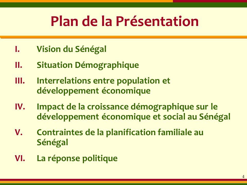 Plan de la Présentation I.Vision du Sénégal II.Situation Démographique III.Interrelations entre population et développement économique IV.Impact de la
